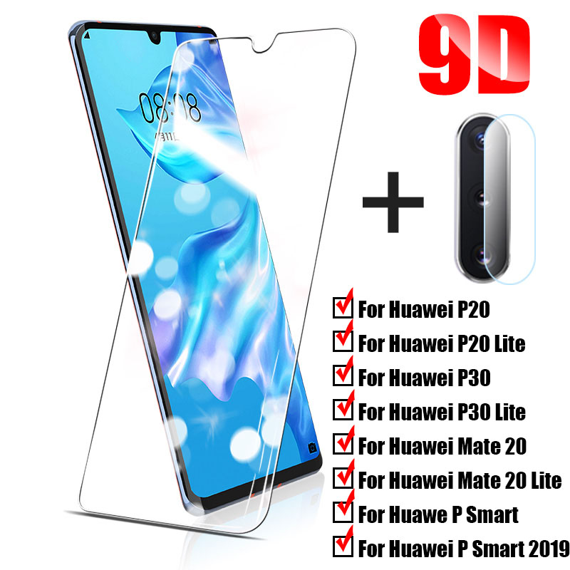 2 In 1Protective Tempered Glass For Huawei P20 Pro P30 P40 Lite Pro Screen Protector For Huawei P Smart 2019 Glass Film
