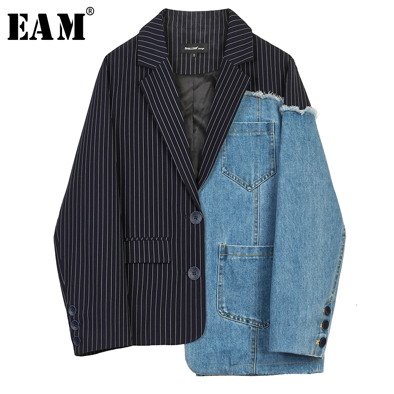 [EAM]  Women Blue Denim Striped Asymmetrical Blazer New Lapel Long Sleeve Loose Fit  Jacket Fashion Spring Autumn 2019 1H389