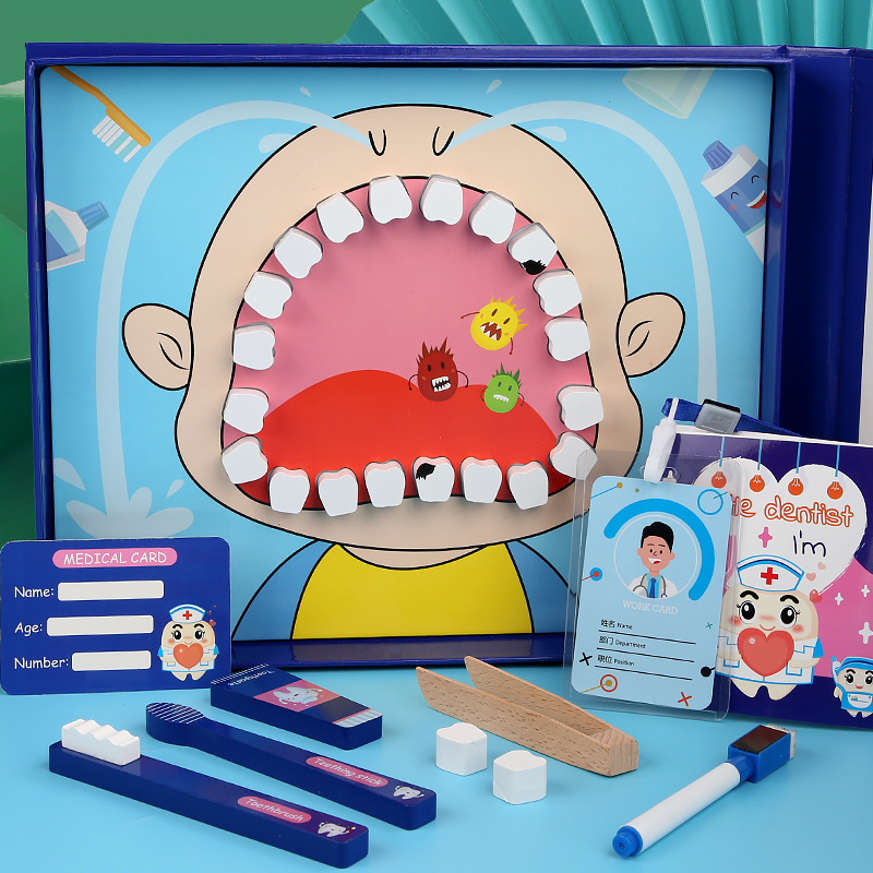 Children's Simulated Dentist's Tooth Extraction And Tooth Change Pretend to Play With Medical Bag Model Education Wooden Toy Set