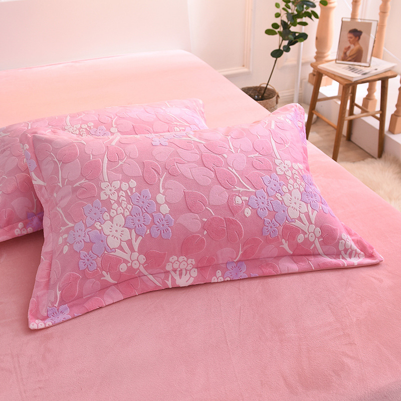 Winter New Style Warm 6d Embossed Fabric Four-piece Set Coral Velvet Single Double Crystal Velvet Suite Bedding Article