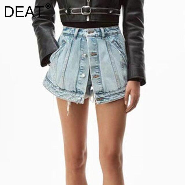 DEAT Solid Hot Women Fake Two Pieces High Waist A-line Thin Denim Shorts Street Style Mall Goth 2021 Summer Autumn 7E754 1