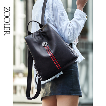 ZOOLER High Quality genuine leather backpack women real Fashion Casual Black Red Cow Leather Women Backpack Skin Female