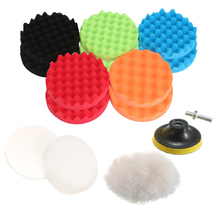 Buffing-Pad-Set Adaptor Wheel Sponge Abrasive-Tools M14-Drill 3inch Woolen-Wave for Car-Polisher-Pads