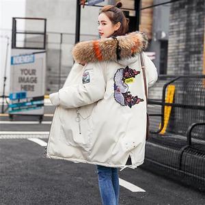 Image 4 - Vêtements à capuche pour femmes, manteaux féminins épais, taille large, avec veste chaude, fermeture éclair, parka longue, collection dhiver, collection décontracté