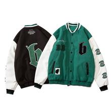 2021 Autumn Winter New Hip-hop Embroidered Jacket Men's Trend High Street Color Matching Loose Couple Baseball Uniform Jacket