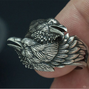 Viking Men Two Entwined Ravens Ring Norse Mythology Silver Color Odin Crow Motorcycle Biker Rings for Women Men Amulet Jewelry image