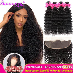 Deep-Wave-Bundles Frontal Shuangya-Hair Brazilian with Remy