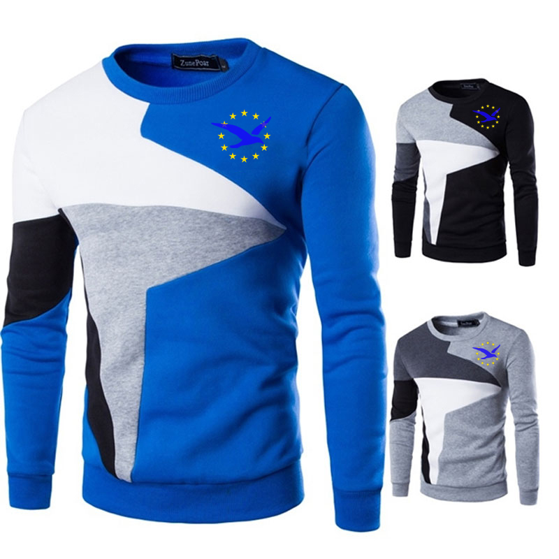 NEW Sweaters Men Royal Seagull+yellow stars Printed Casual O-Neck Slim Cotton Knitted Mens Sweaters Pullovers Men Brand Clothing