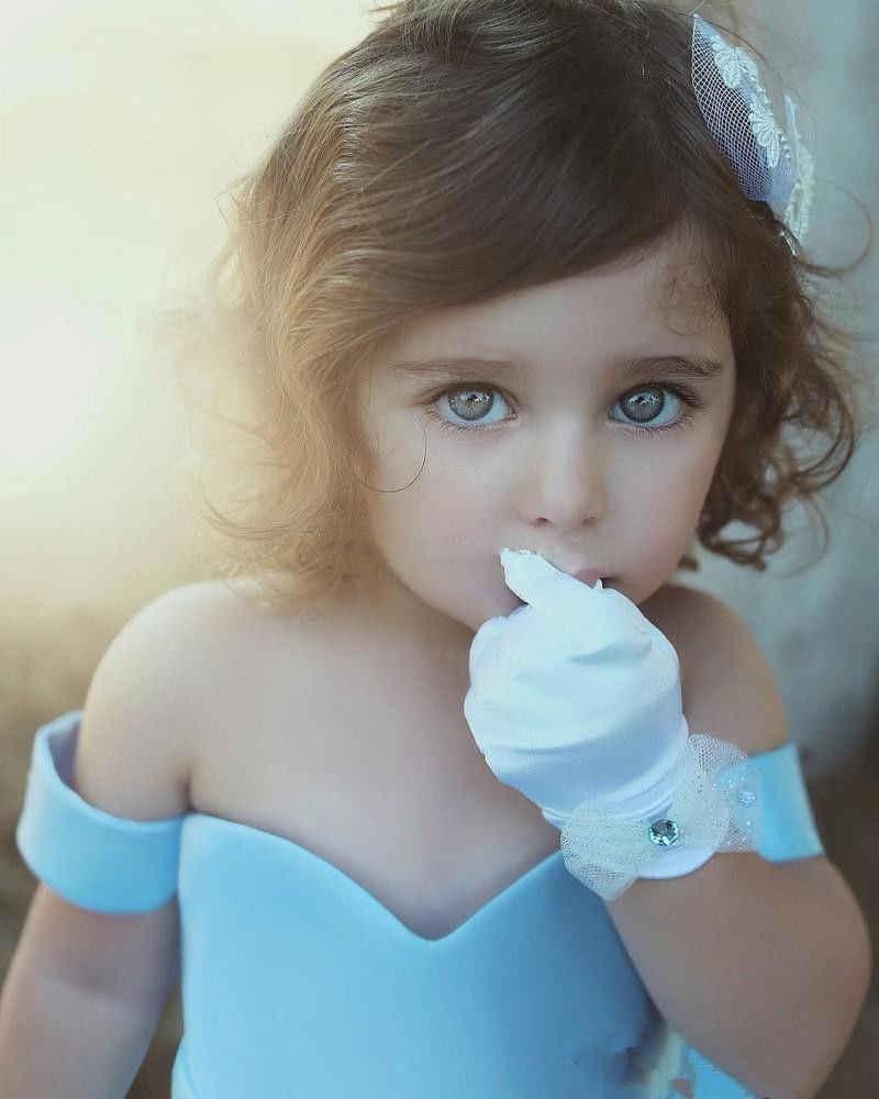 정장 로리타 꽃의 소녀 드레스 라이트 블루 볼 가운 키즈 첫 성찬식 파티 웨딩 공주와 기차