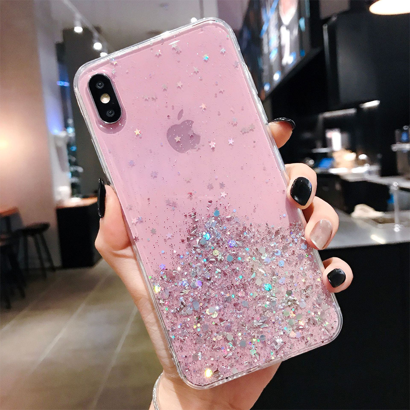 H2af286f4ae414069ac6018ce0af0b719T - WALITIAN Luxury Bling Sequins Star Glitter Phone Case Cover Case Transparent Soft TPU Fitted Case Apple Iphones