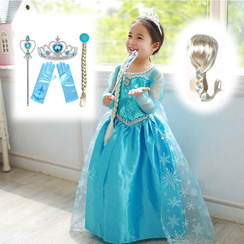 New Princess Girl Dresses Anna Elsa Cosplay Costume Children Clothing Kid's Party Dress Kids Girls Clothes