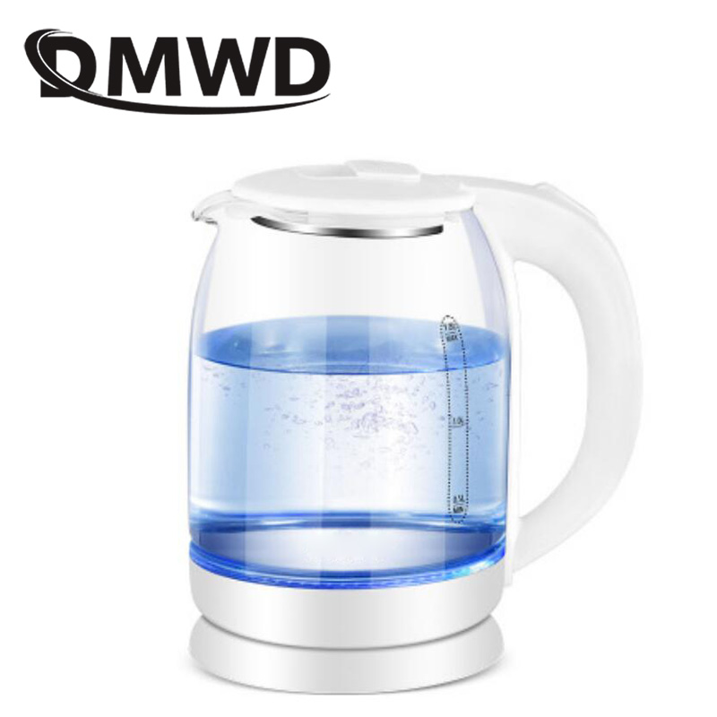 DMWD 1.8L Electric Kettle Quick Heating Hot Water Boiling Teapot Glass Blue Light Heater Pot Boiler Auto-Power Off EU US Plug