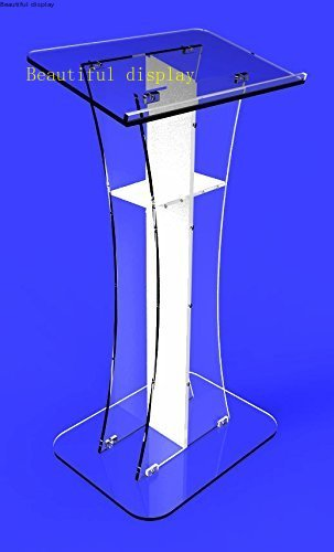 Fixture Displays Podium Clear Ghost Acrylic  Lectern Pulpit White Cross  Easy Assembly Required Minister's Desk