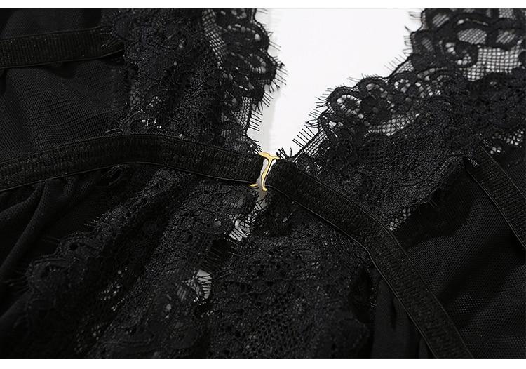 CINOON Summer Womens Sleepwear V-Neck Sexy Nightdress Casual Nightgown Comfortable Lace Pajama Solid Color Bifurcation Nightwear (19)