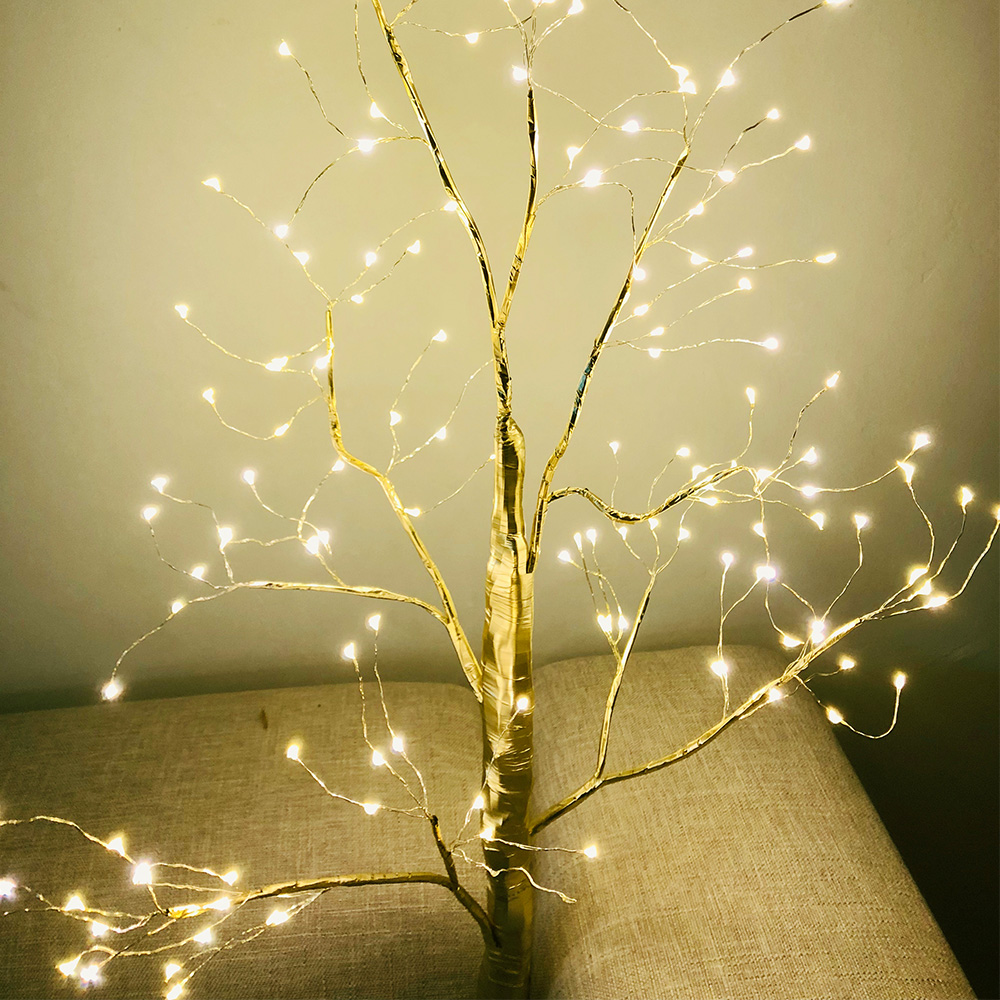 LED Golden Color Branch Tree Lamp Floor Stand Tree Light HomeLiving Room Decoration Light Tree 220V 240V EU Plug 150LEDs D20