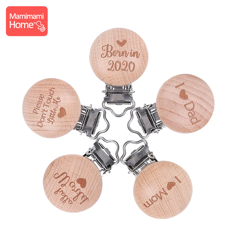 10pc Baby Teether Beech Wooden Clips Wood Teether Rodents DIY Pacifier Chain Nipple Holder Child Chewing Toys Gift Soother Clasp