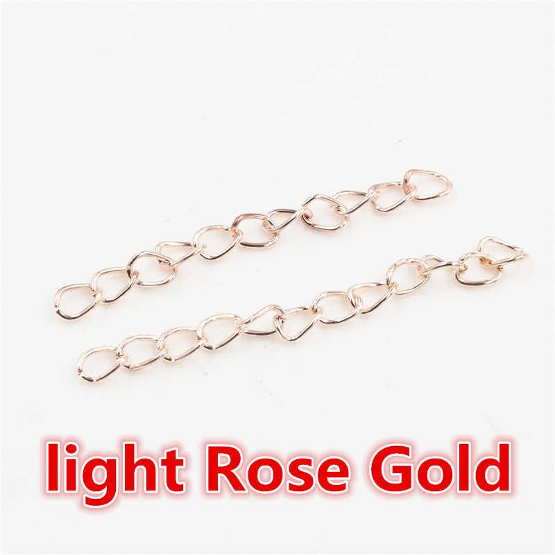 50 unids/lote 50mm 70mm 5x4mm collar Cadena de extensión a granel pulsera extensor de la cola de las cadenas extendidas para hacer joyas DIY