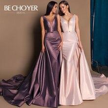 Train détachable Satin robe de mariée BECHOYER W127 col en v Court Train 2 en 1 sans manches robes de soirée de bal Vestido de Noiva