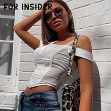 купить For Insider Off shoulder white women crop top Sexy backless pink tank top cami Casual streetwear slim female sexy camisole vest в интернет-магазине