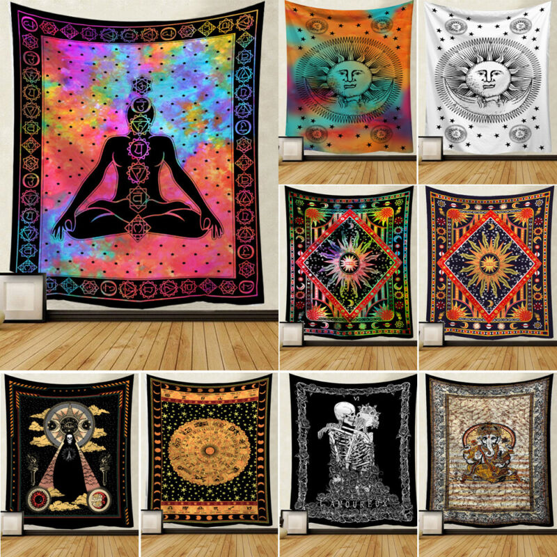 Newest Sun Skull And Moon Tarot Psychedelic Tapestry Bohemian Hippie Wall Hanging Home Decor Colorful Wall Tapestry Decoration