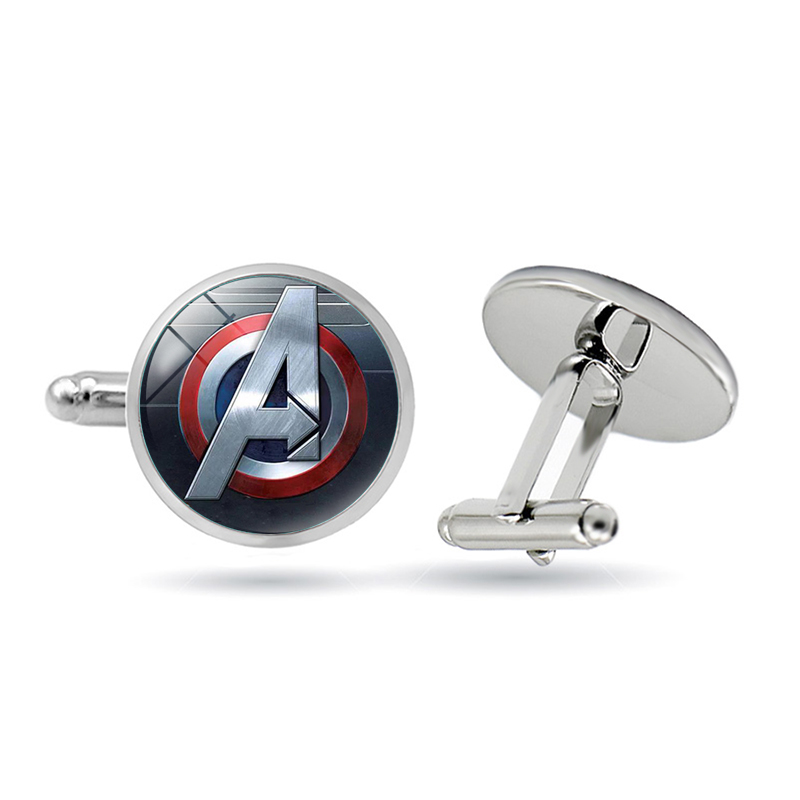 Avengers A Letter Logo Cufflinks Superhero Thor Star Wars Flash Deadpool Batman Tie Clips For Men Party Shirt Jewelry Tie Bar