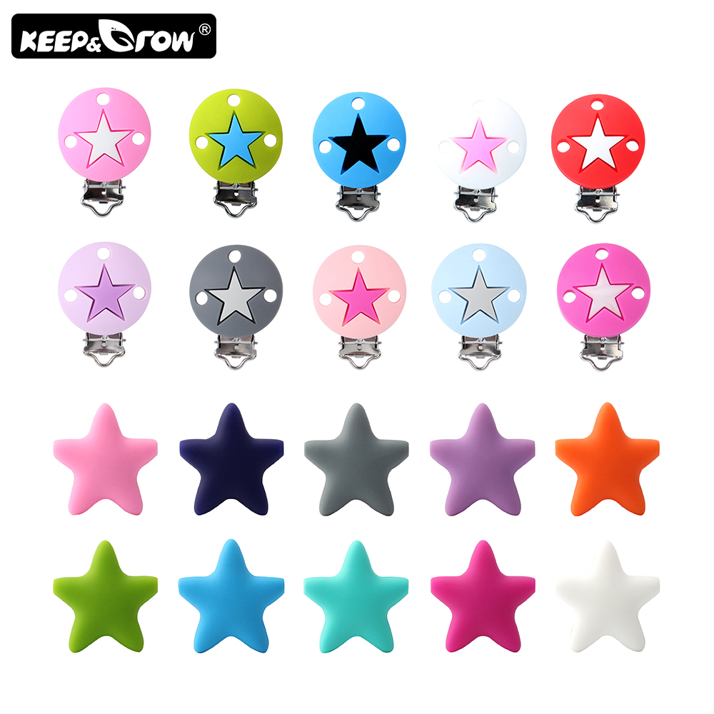 2Pcs Stars Silicone Beads Baby Pacifier Clips DIY Teething Necklace Toys Accessories Baby Silicone Teethers Clip Nipple Clasps