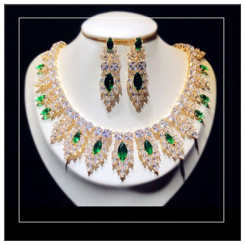 Ensembles de bijoux fins pour les femmes 925 en argent Sterling émeraude cubique zircone colliers de mariée pendentifs boucles d'oreilles goutte ensemble Vintage