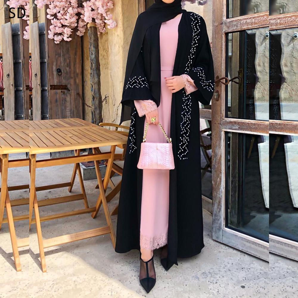 Open Abayas Beading Muslim Dress Muslim Abaya Peignoir Fashion Islamic Abaya Clothing