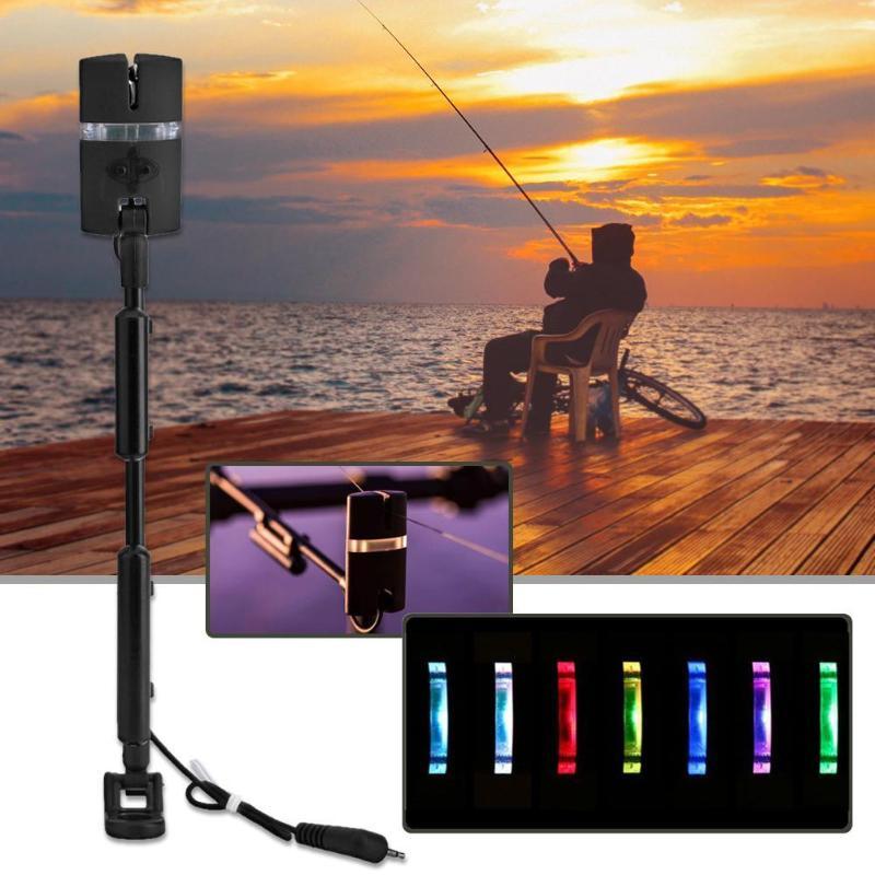 1/2/3pcs Adjustable Fishing Alarm Flash Hard Rod Rocker Swinger 7 Colors Indicator Fishing Tackle Fishing Rod Swingers Pesca