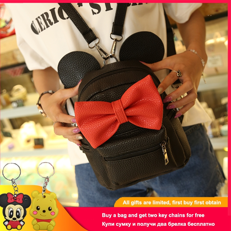 2019 New Mickey Backpack Pu Leather Female Mini Bag Women's Backpack Sweet Bow Teen Girls Backpacks School Bag Lady Shoulder Bag