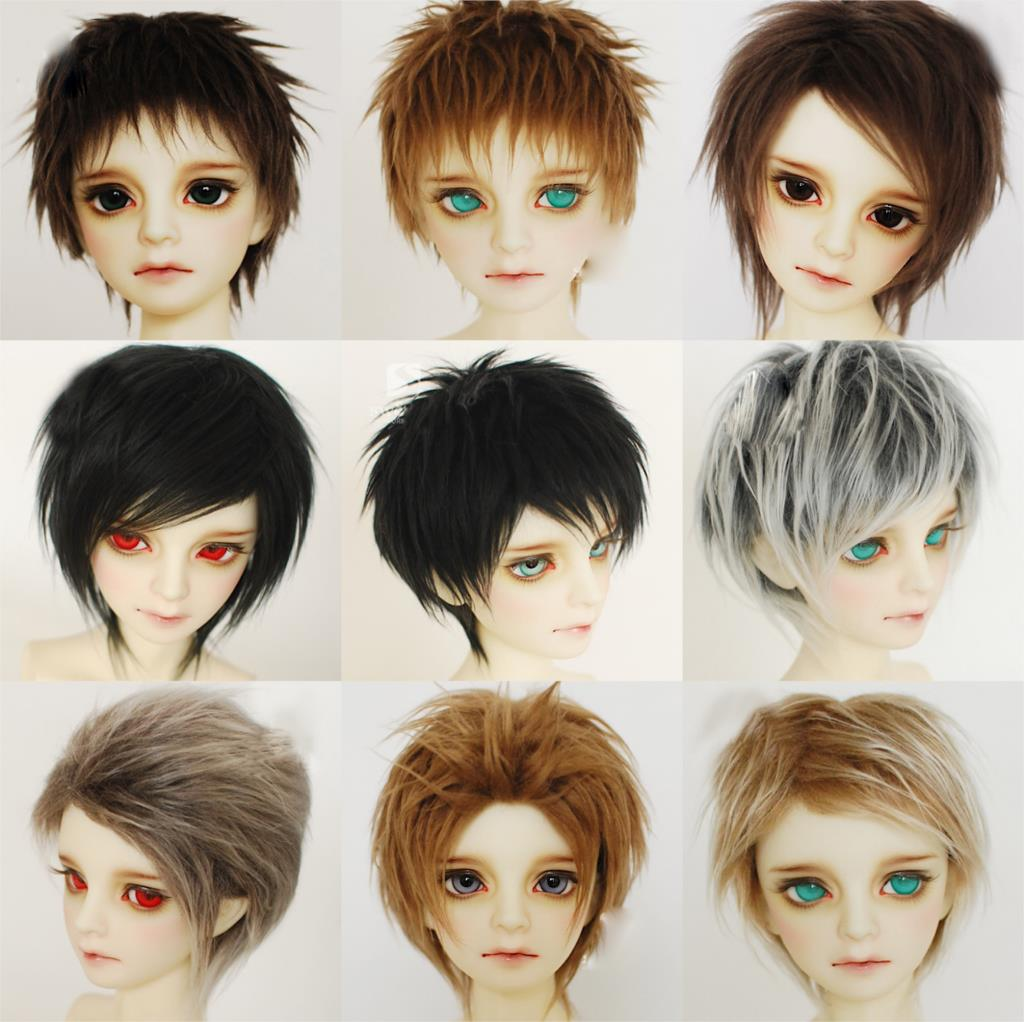 M0101 Children Handmade Toy 1/12 1/8 1/6 1/3 1/4 Uncle Doll Wig BJD/SD Doll Props Accessories Black Brown Gray Short Hair 1pcs