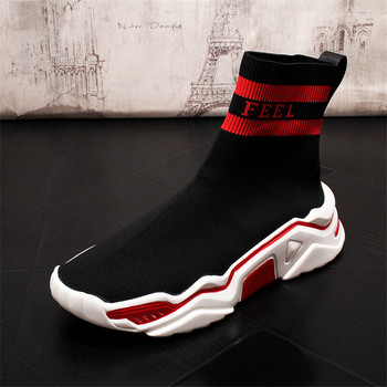 Brand Designer Socks Boots Men Lightweight High Top Casual Shoes Fashion Breathable Ankle Boots for Male Sneakers 2A