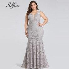 לבן תחרה שמלת נשים אלגנטית בת ים V צוואר שרוולים ארוך פורמליות המפלגה שמלת ערב לילה ללבוש בתוספת גודל שמלת חלוק femme