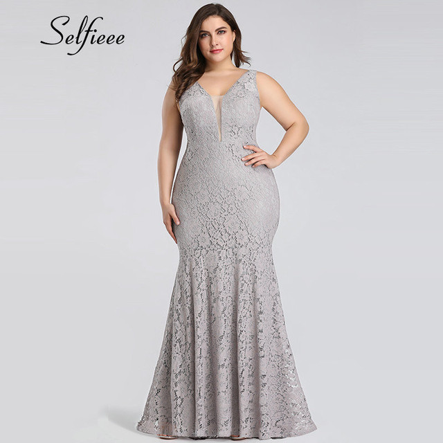 White Lace Dress Women Elegant Mermaid V Neck Sleeveless Long Formal Party Dress Evening Night Wear Plus Size Dress Robe Femme