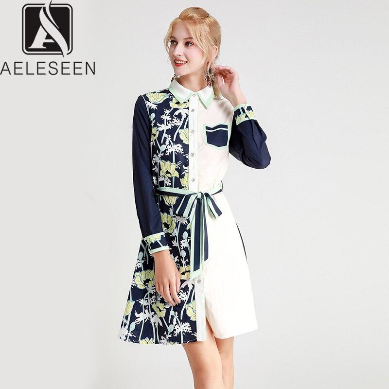 AELESEEN 2019 automne nouveauté piste imprimé Floral robes bureau dame bleu blanc contraste couleur Midi chemise robe avec ceintures