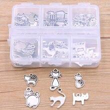 1 Set 60 Teile/los 2 Farbe 6 Arten Tier Charme Kleine Katze Anhänger Mit Box Material Für DIY Schmuck Halskette armband Machen