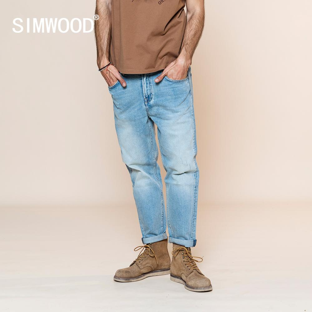 SIMWOOD 2020 Spring New Jeans Men Comfortable Tapered Denim Trousers Ripped Ankle-length Jean Plus Size Brand Clothing SJ110134