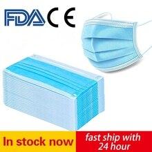 Masques buccaux jetables à boucles auriculaires, 10 à 100 pièces, couches antipoussière, masque buccal respirant sûr