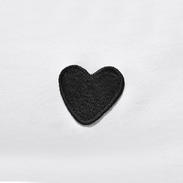 (Have Eyes)Men Women New T-shirt Round Neck Cotton Short Sleeve Embroidery Love-Heart Black Heart Spring Summer Loose T-shirt 5