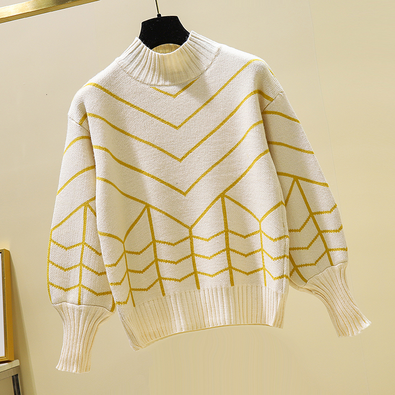 Loose Stripe High Quality Knitted Sweater Pullover Solid Long Sleeve Pull Femme Fashion New 2019 Sueter   Mujer Women Winter