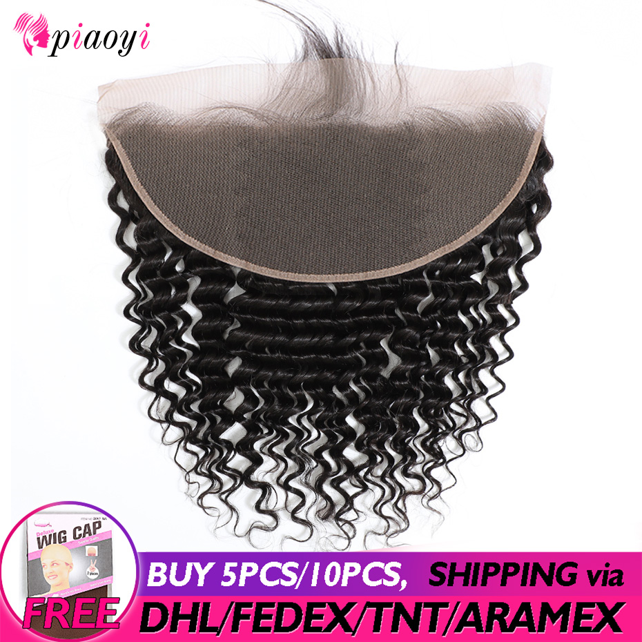 Brazilian Deep Wave Frontal 13x6 Lace Frontal Pre Plucked With Baby Hair Natural Colour 100% Remy Human Hair Piaoyi