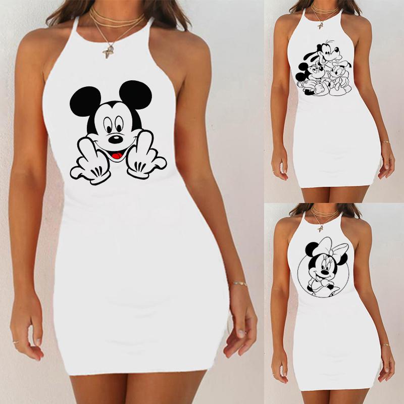 Kawaii Mouse Print Summer Sexy Clothes Women Dresses Backless Nightclub Dress Bodycon Evening Party Low Neck Mini White Vestidos
