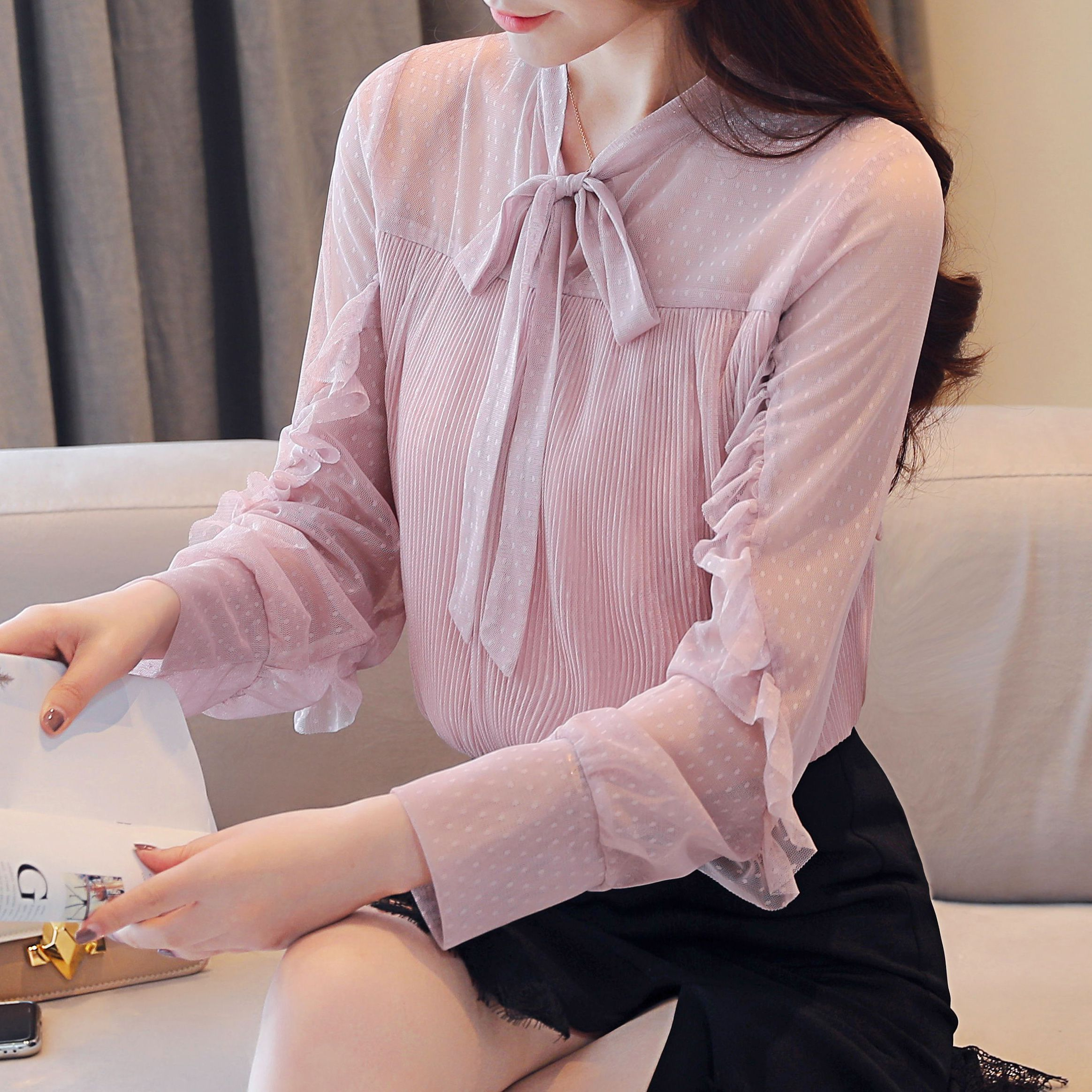 COIGARSAM Casual Lace Blouse Women New Spring Full Sleeve Chiffon Bow Belt Blusas Womens Tops And Blouses Pink Blue 305