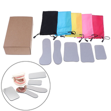 5pcs Dental Orthodontic Intraoral Photographic Reflector Mirror 2 Sided Rhodium Glass Mirrors With Storage Bag For Dental Clinic