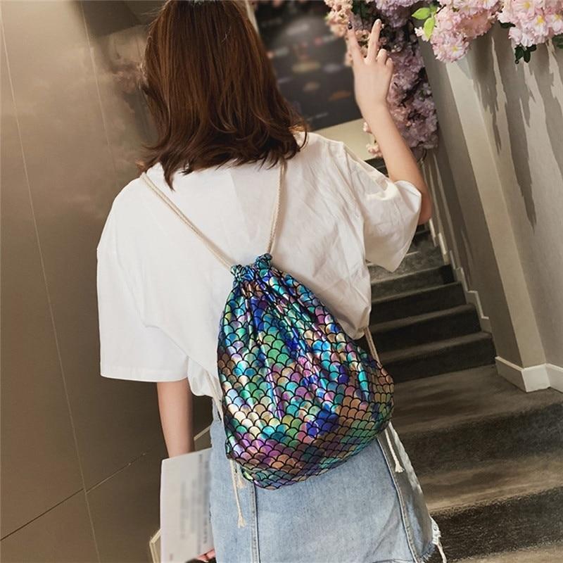 2019 New Fashion Mermaid Fish-Scale Pattern Women Drawstring Bag Outdoor Travel Sports Shoulder Bag School Rucksacks Backpacks