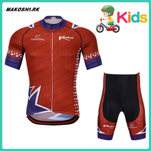 MAKOSHARK Child Cycling Jersey Set Summer Short Sleeve Shirt Boys Bicycle Clothes Clothing Red Blue Fashion Sports Wear
