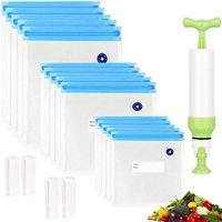17pcs//set Reusable Vacuum Bags Food Saver Sealer Ziplock Storage Seal Pouch Bag