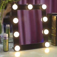 9 LED Makeup Mirror Light Bulb Table Lamp with Dimming Beauty Fill Light Mirror Vanity Square Shaft Princess Mirror Vanity Light