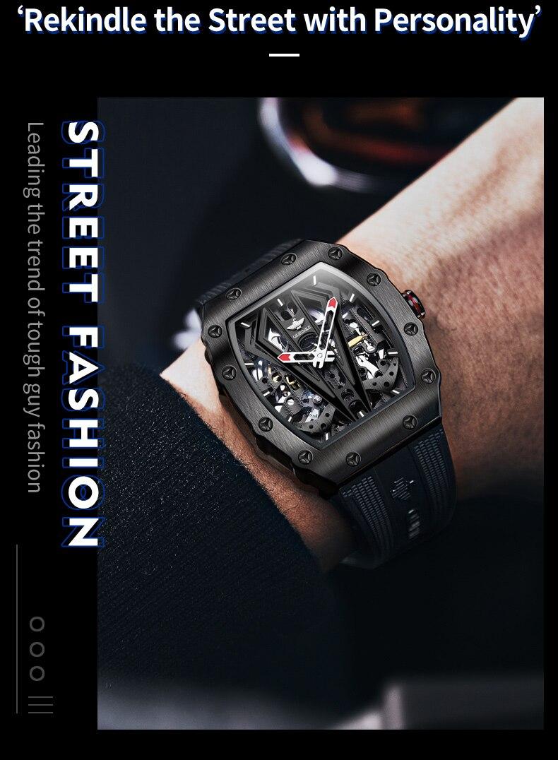 luxo pulseira de silicone dos homens relógios
