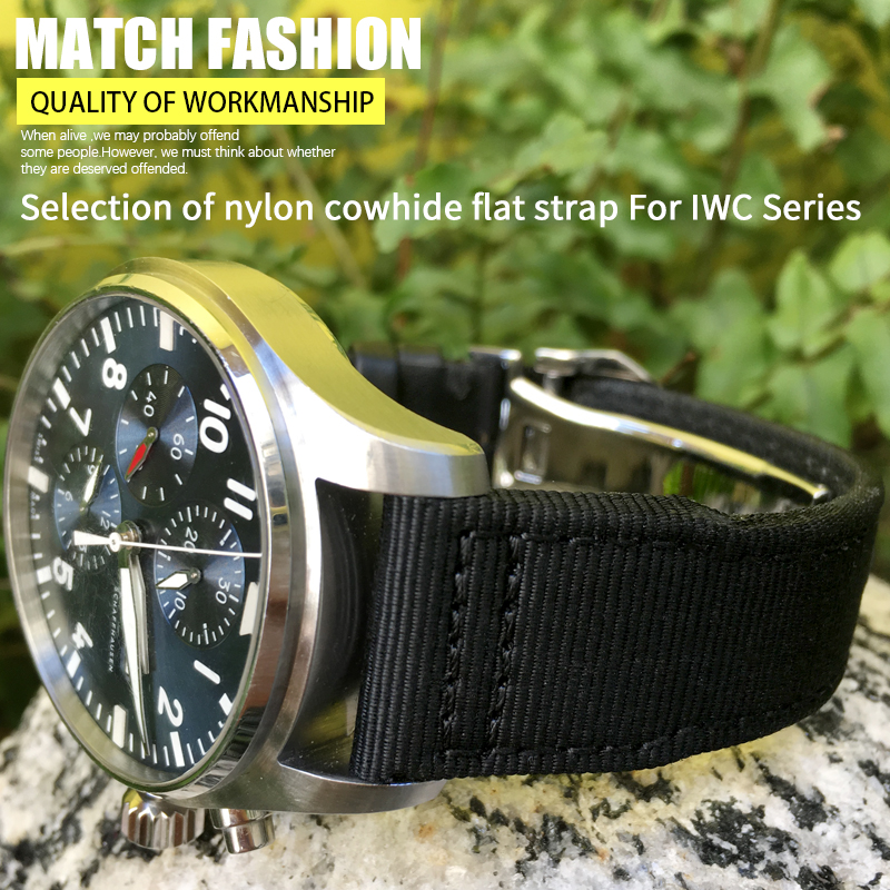 20mm 21mm Weaving Canvas Watch Strap Folding Buckle Watch Band Suitable for IWC Mark PORTOFINO FAMILY Watch Accessories